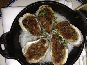 Oysters with Jalapeno Butter and Bacon (special of the night)