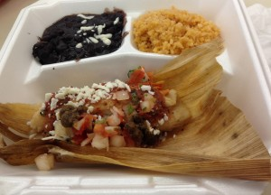 Tamal with Black Beans & Rice